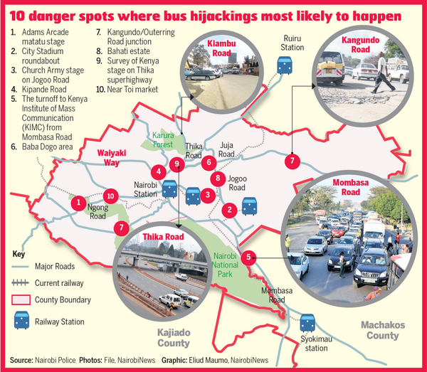 Matatu Hijacking Map (source: Nairobi News, via Twitter)