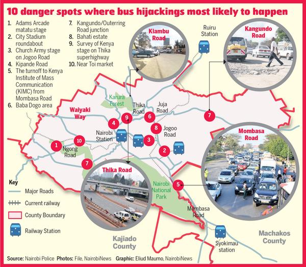 Matatu Hijacking Map (source:   Nairobi New s , via Twitter)