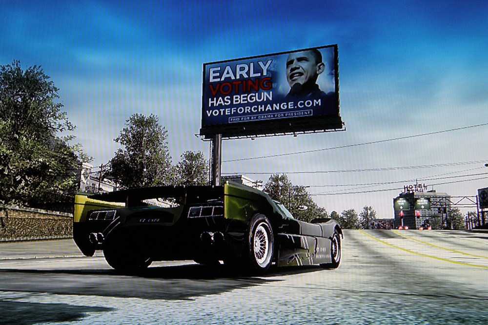 """REAL"" ad campaign by Barack Obama in  Burnout Paradise,  2008"
