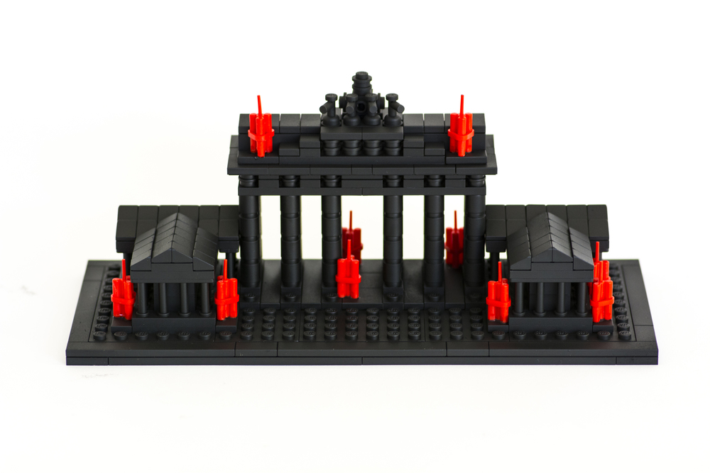 "Anti-Monuments for Counter Histories (09/12/1987) , painted lego pieces and plastic dynamite, 3.6"" (9.2cm) tall, 8.8"" (22.4cm) wide and 3.7"" (9.6cm) deep, 2015"