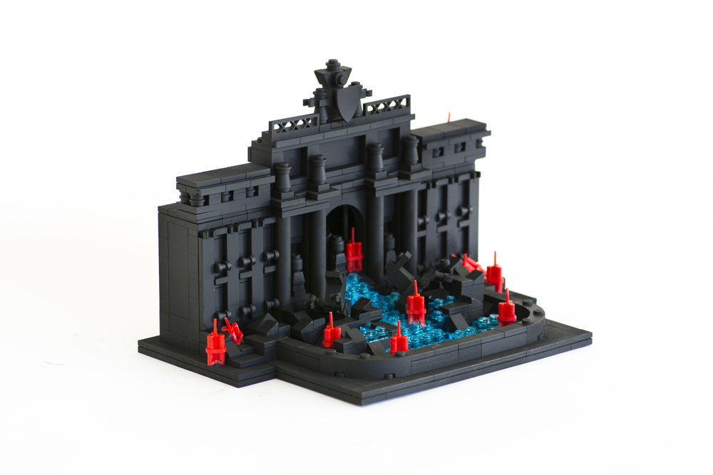"Anti-Monuments for Counter Histories (12/12/1969) , painted lego pieces and plastic dynamite, 5"" (14cm) tall, 7"" (20cm) wide and 5"" (14cm) deep, 2015"