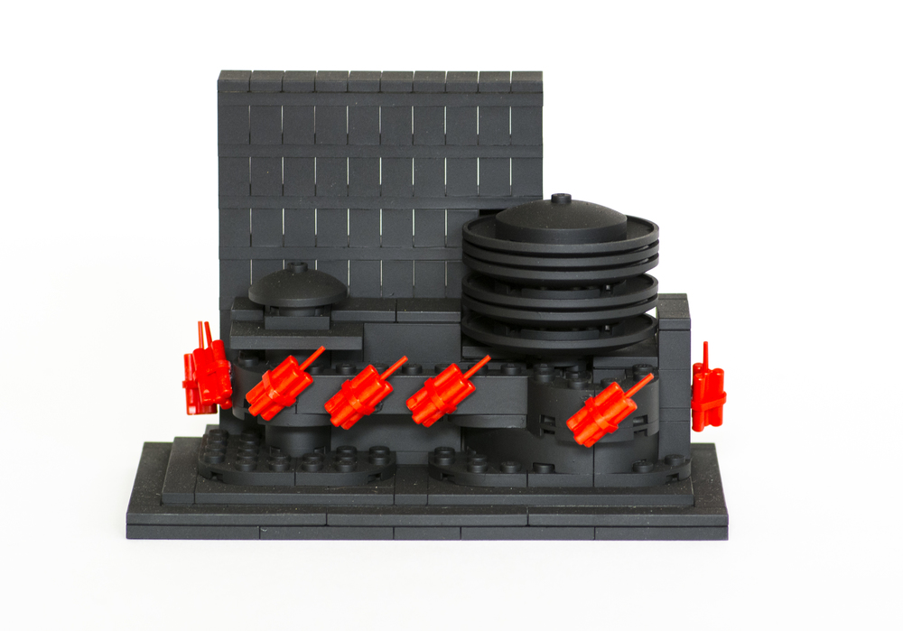 Anti-Monuments for Counter Histories (02/20/1909) , painted lego pieces and plastic dynamite, 2015