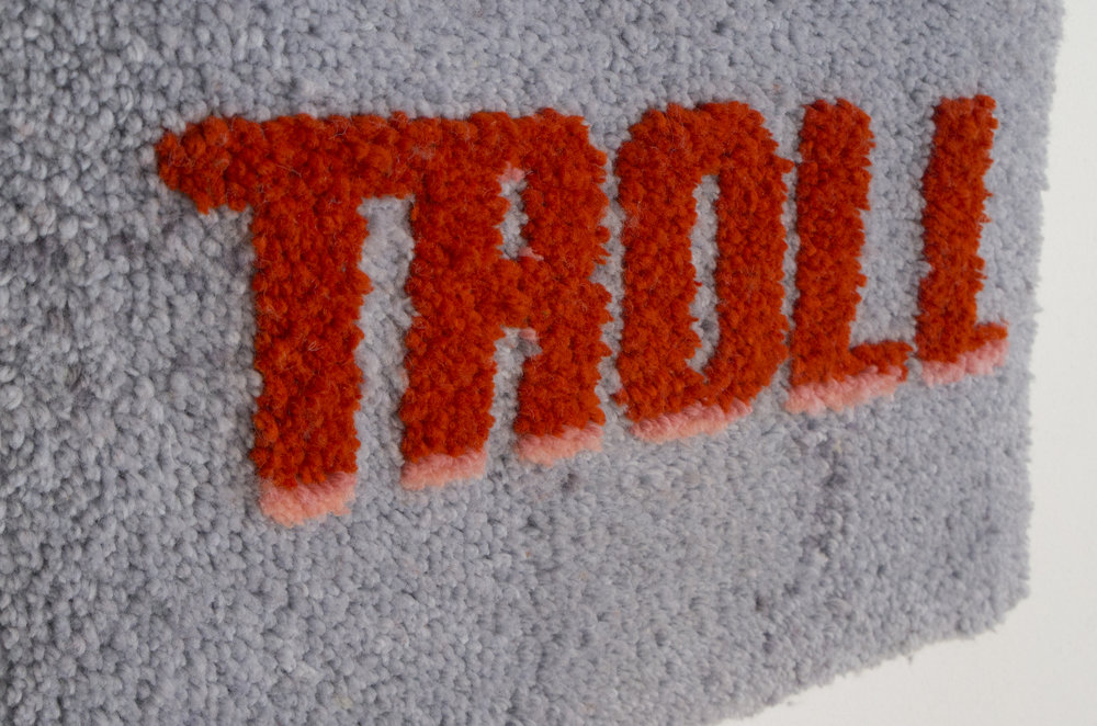 Status Update (TROLL), Anchor 6ply wool, latch hook canvas, and cotton, 63 x 103 cm, 2017