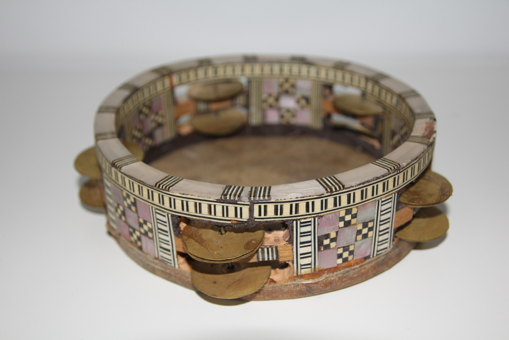 Vintage Egyptian mother of pearl tambourine