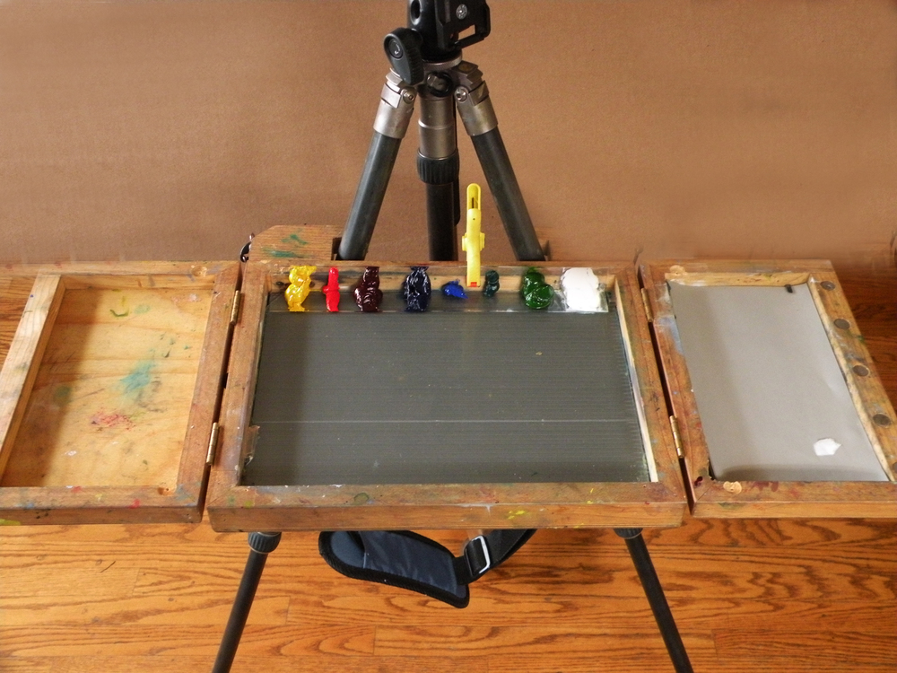 """Paint tray attached to an """"Art Box"""" by James Coulter."""
