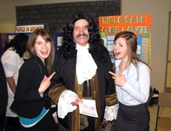 Praxis Science Fair: 17th century scientist Robert Boyle visits with the participants.