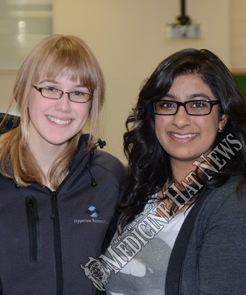 2012-01-30 Operation Minerva Science Fair Medicine Hat News Smile of the Day Kate Berger and Jasveen Brar.jpg