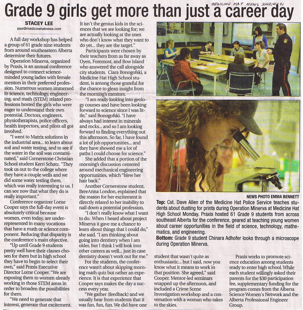 2012-01-30 Operation Minerva   Grade 9 Girls - More than Just a Career Day - Medicine Hat News article.jpg