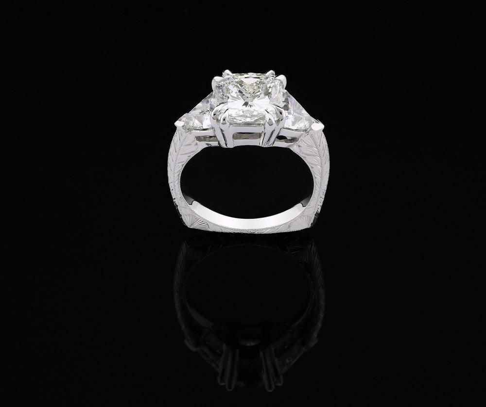Custom Cushion Platinum Wedding Ring, 2018