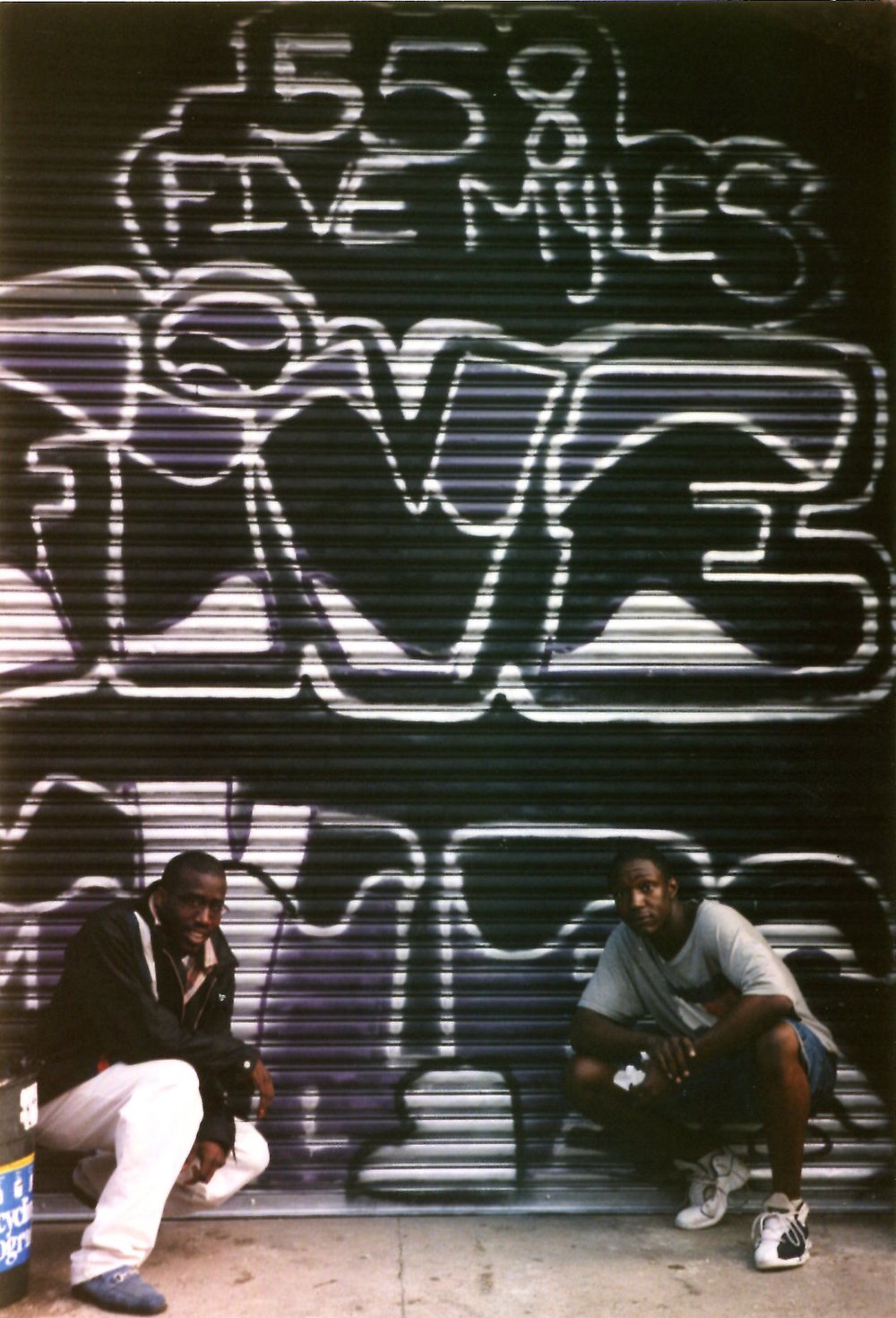 The original FiveMyles graffiti, executed by Rusley (on the right) in 1999