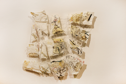 #2 Roya Amigh  The repatriation ,  Paper, thread, and pieces of cloth 23 x 25 in 2017