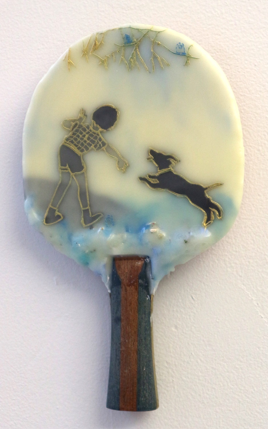 #9 Cecile Chong  Well Trained  Encaustic and mixed media on ping-pong paddle 10 x 6 in, 2017