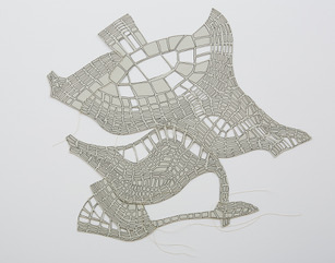 #11 Nicholas Constantakis  Take off No. 3  Ink on paper + thread,  14 x 15 in 2013