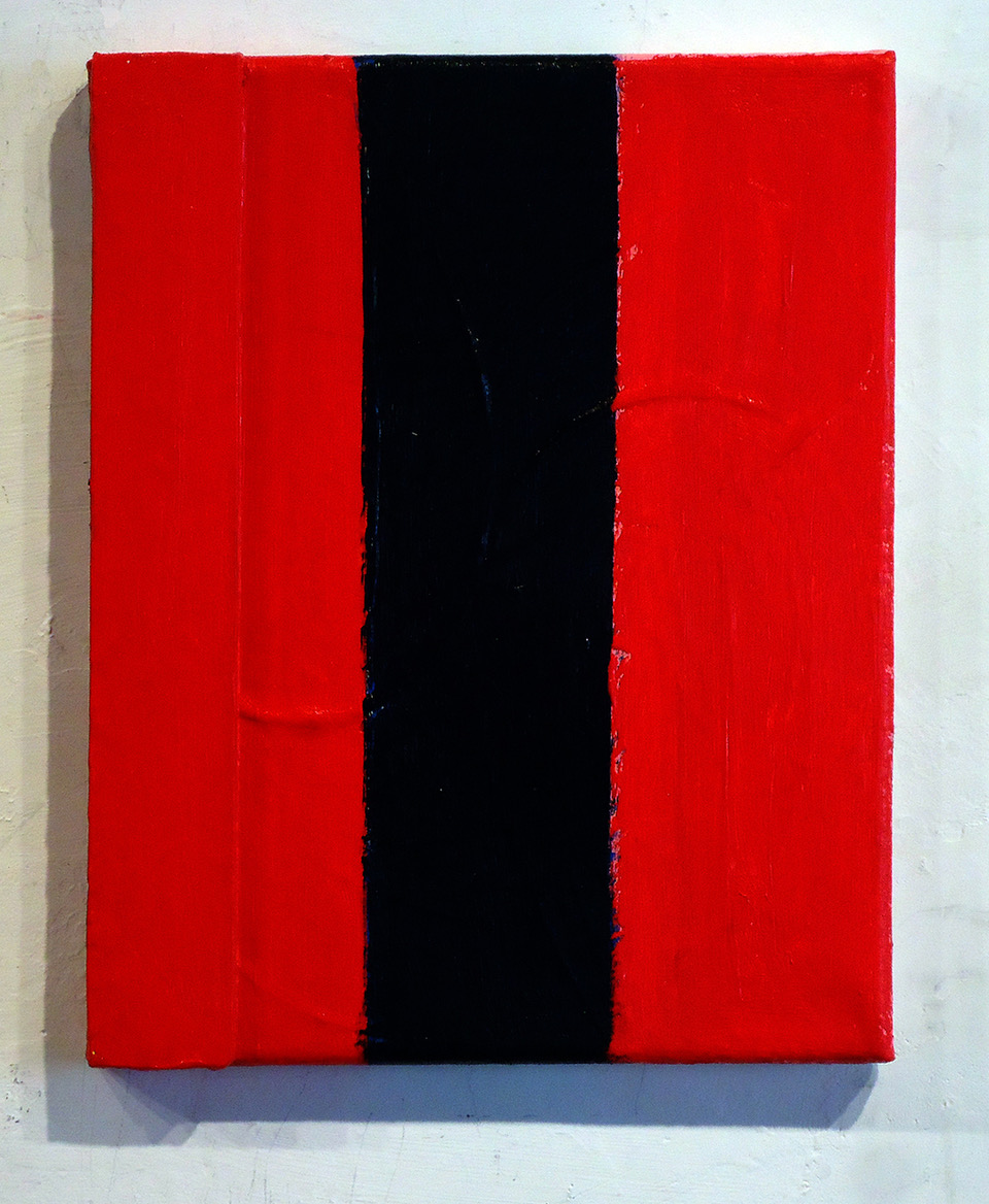 #36 Patrick Mangan  Black Stripe 2019  Wood and acrylic on canvas 10 x 8 in 2019