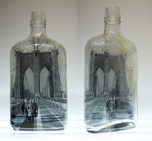 "#43 Barbara Norman Brooklyn Bridge Bottle Silver Gelatin Image hand printed on vintage bottle 8"" high x 4"" wide x 1.5"" deep, 2018"