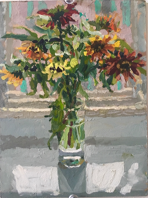 #80 Susanna Coffey  Greenwich St. , Flowers, Studio  Oil on panel 8 x 6 in 2016