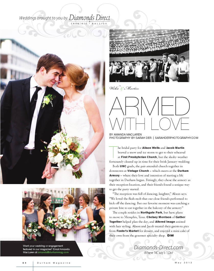 Wells-Martin Wedding in  Durham Magazine