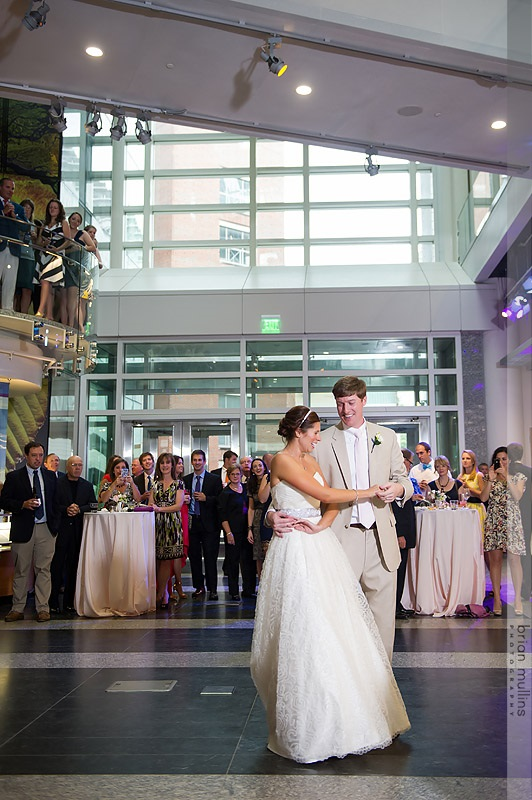 The couple had their first dance on the main floor of the museum for all to see! Photo by Brian Mullins Photography