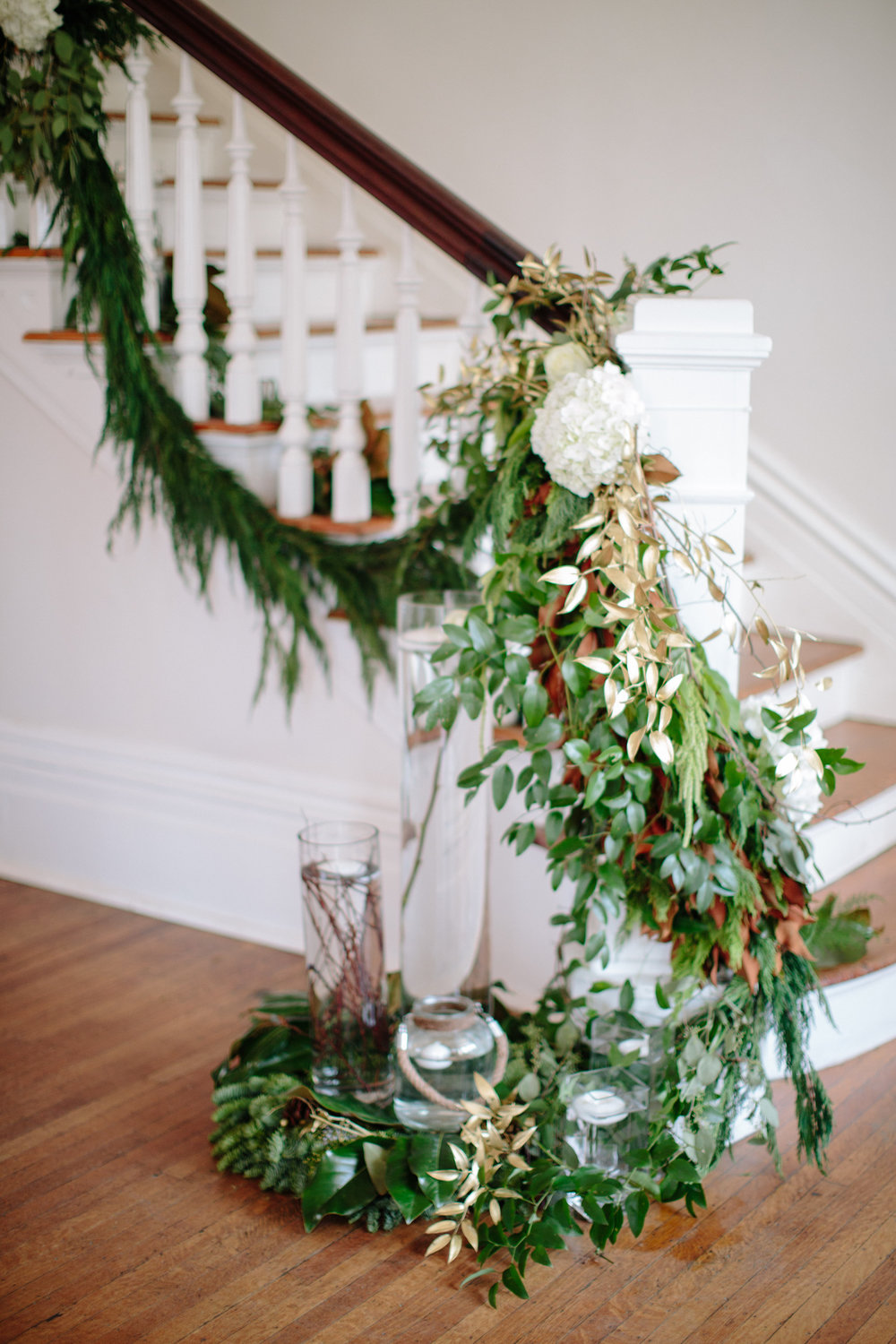 magnolia greenery staircase raleigh winter wedding