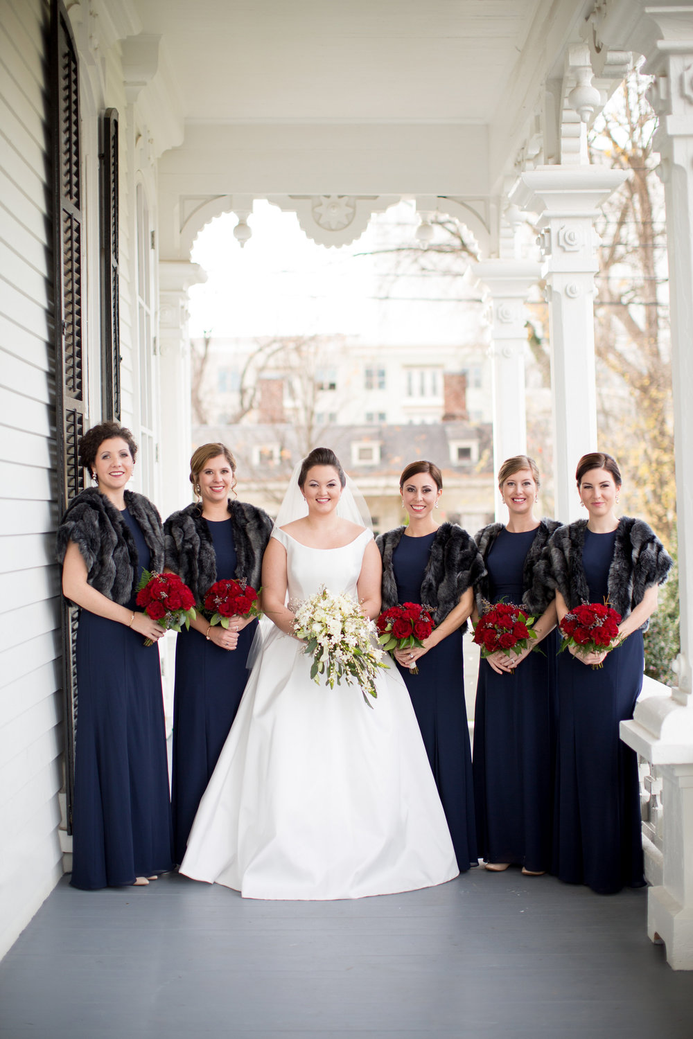 bridal party raleigh winter wedding