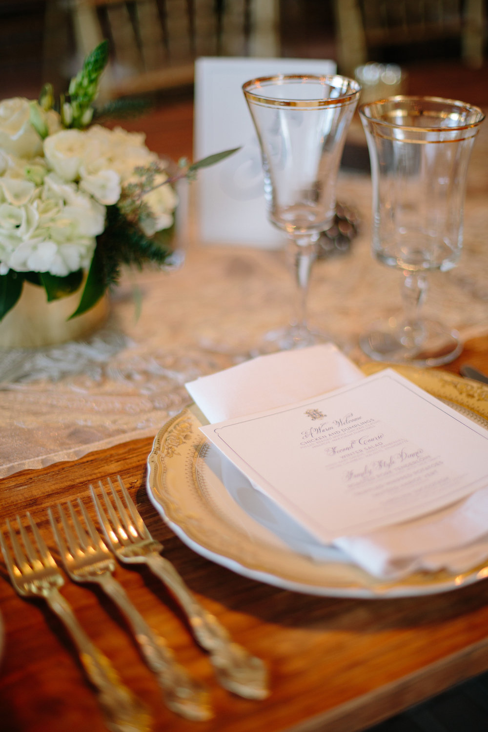 gold place setting engraved menu raleigh wedding