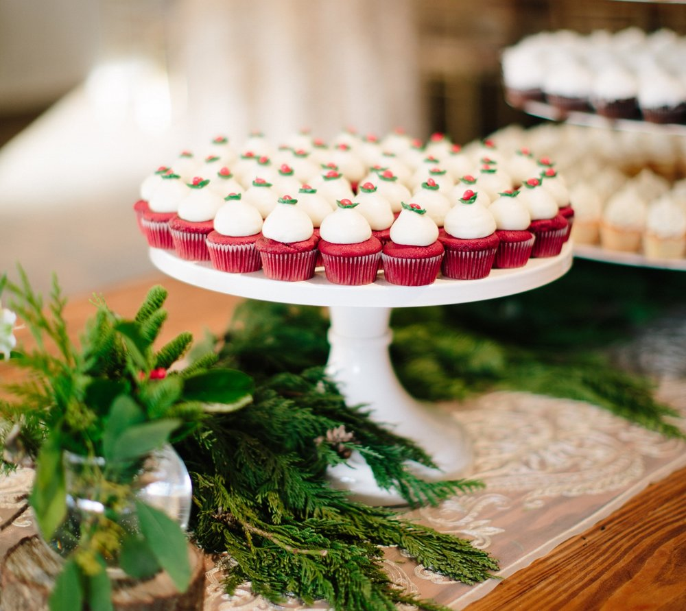 mini red velvet cupcakes winter wedding