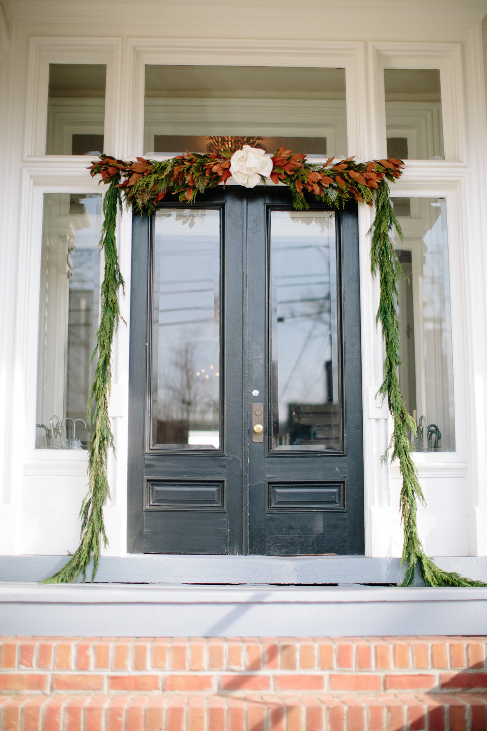 magnolia greenery entryway raleigh winter wedding