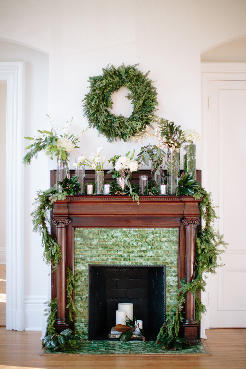 wreath greenery mantle merrimon-wynne