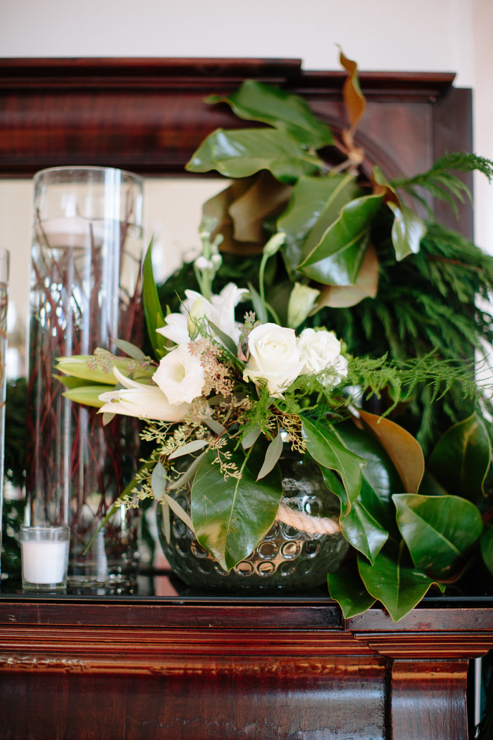 wedding mantle florals greenery raleigh wedding