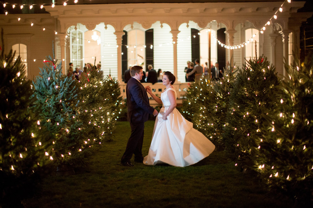 bride and groom christmas tree farm wedding