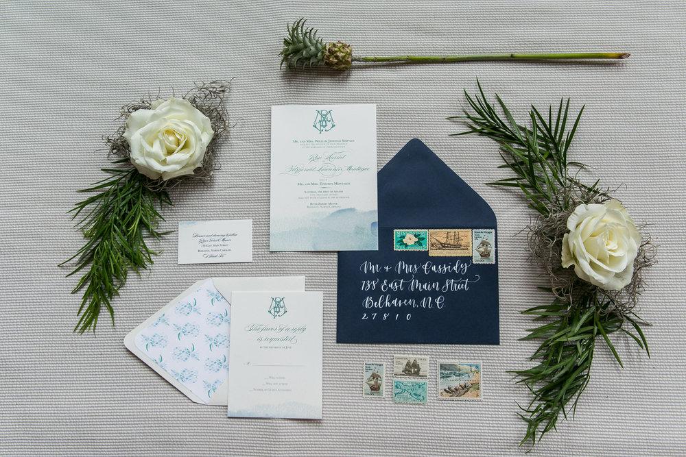 indigo invitation suite coastal theme