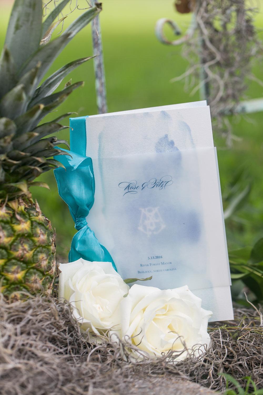wedding program blue watercolor