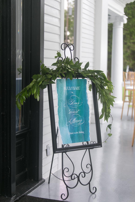 wedding signageblue watercolor greenery