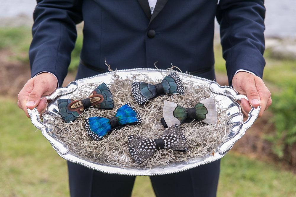 modern feather wedding bow ties