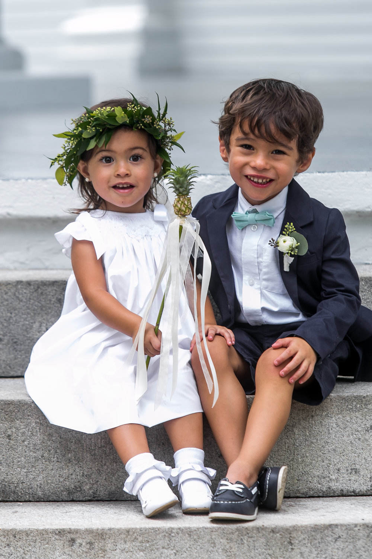 modern wedding flower girl ring bearer