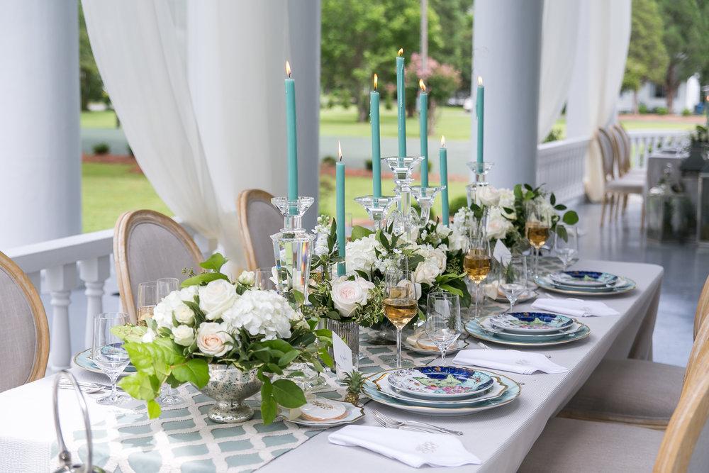 wedding tablescape dinner reception tobacco leaf china