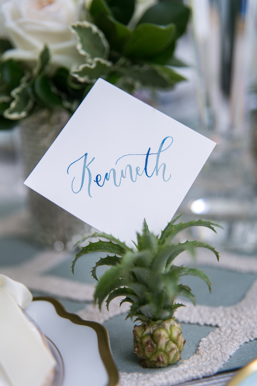 watercolor pineapple placecards modern wedding