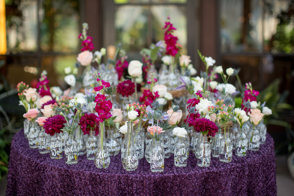 personlized bud vases calligraphy escort table duke gardens