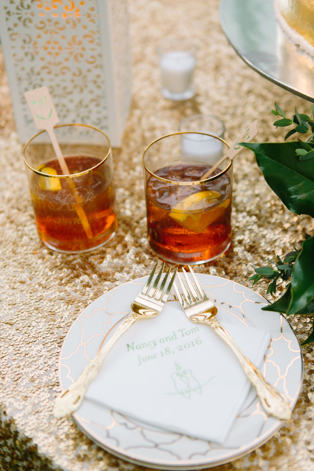 virginia tented at-home wedding reception cocktails