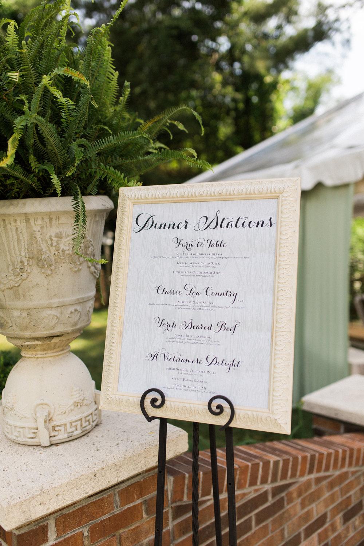 virginia tented at-home wedding reception menu signage