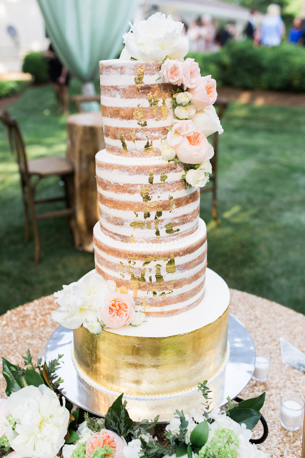 virginia tented at-home wedding gilded cake