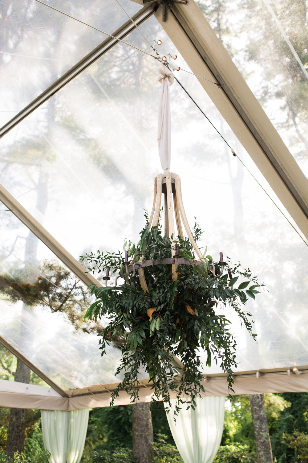 virginia tented at-home wedding decor floral chandelier