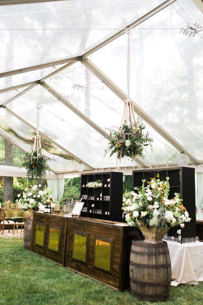 virginia at-home tented wedding bar reception