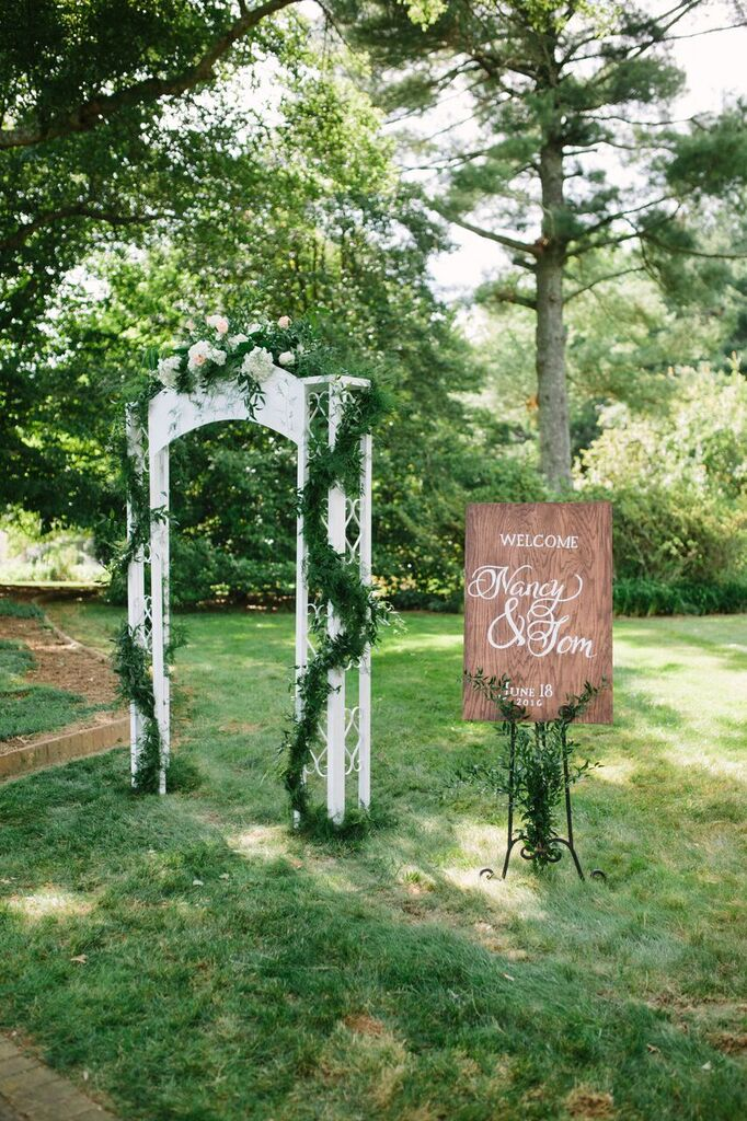 virginia at-home wedding signage arbor