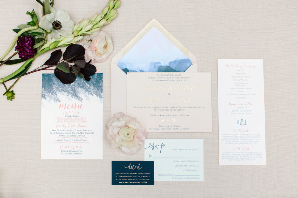 asheville nc wedding watercolor invitation rose gold