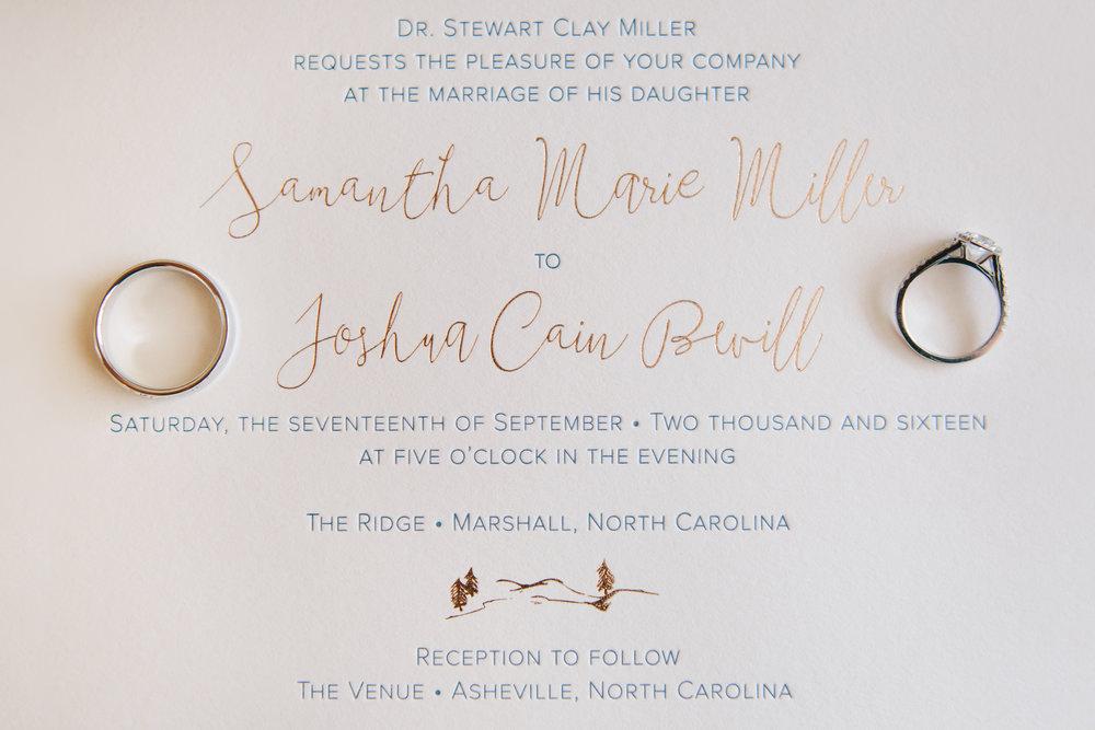 asheville nc wedding invitation rose gold foil
