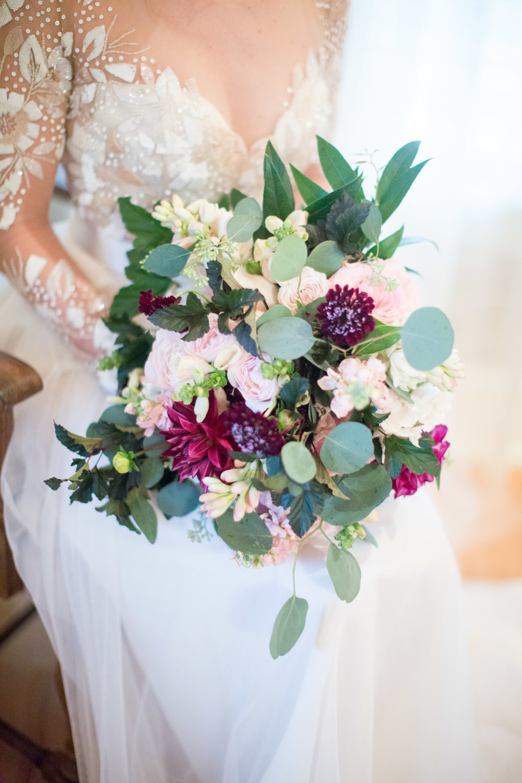 Asheville nc wedding bridal bouquet Hayley Paige gown