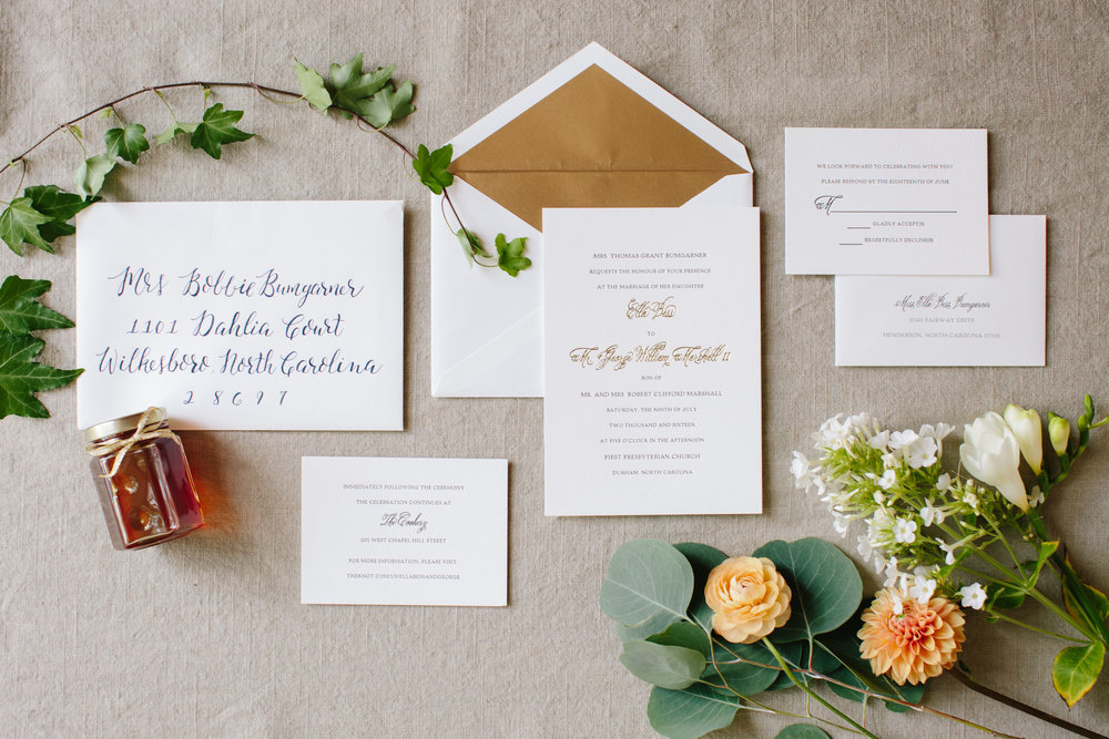 durham nc wedding invitation suite