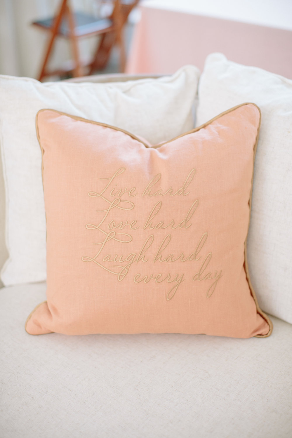 durham nc wedding reception decor embroidered pillow