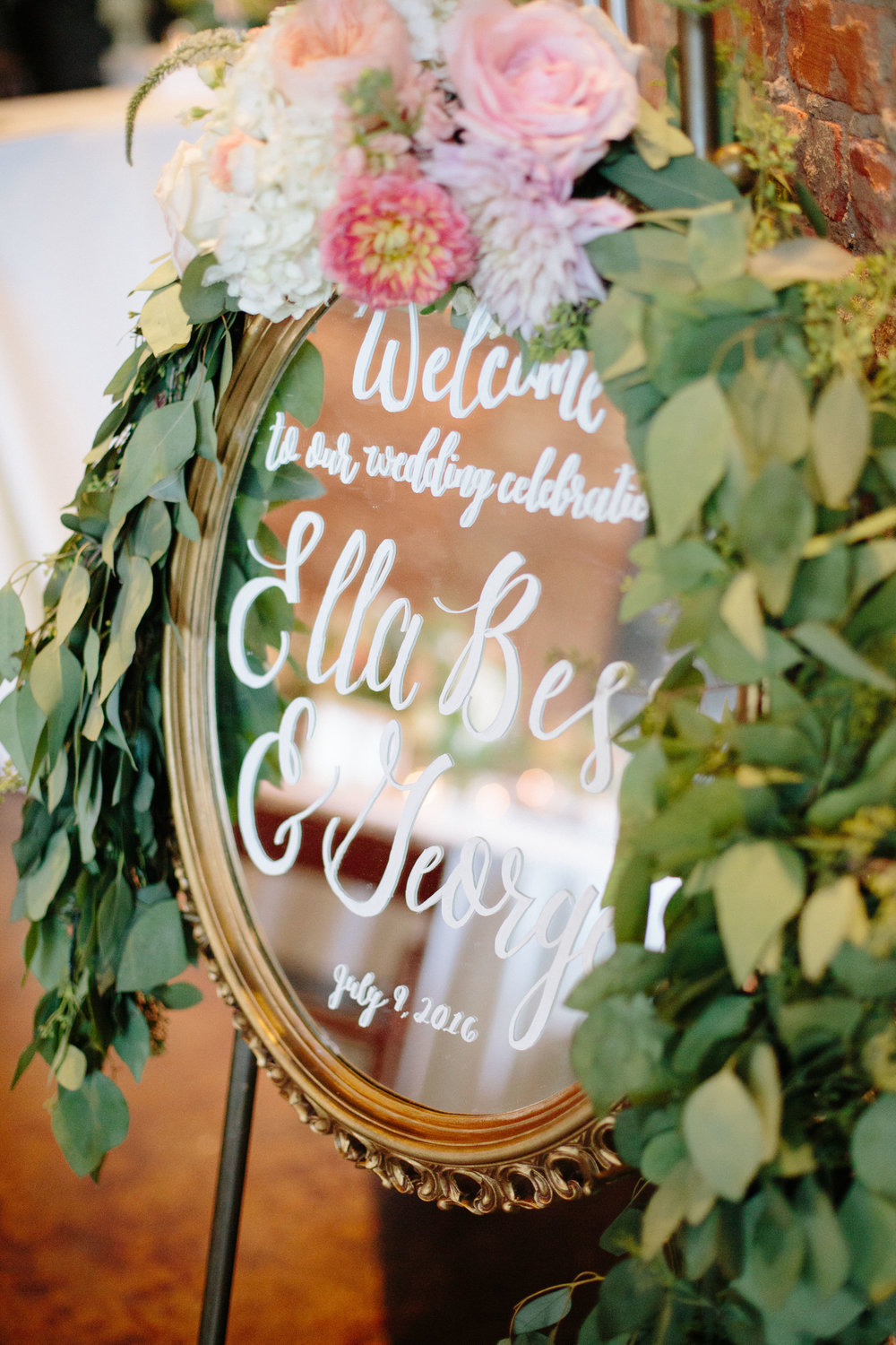 durham nc wedding reception decor welcome sign calligraphy